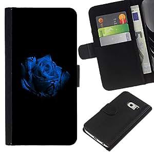 // PHONE CASE GIFT // Moda Estuche Funda de Cuero Billetera Tarjeta de crédito dinero bolsa Cubierta de proteccion Caso Samsung Galaxy S6 EDGE / The Blue Rose /