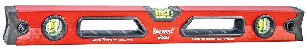 Starrett Exact KLBX24-N Aluminum Box Beam Level with 3 Block Vials, 24'' Length