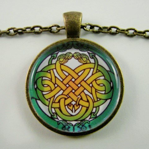 (Celtic Serpent Knot Necklace,Celtic Endless Knot Design with Entwined Snakes,Celtic Art Necklace)