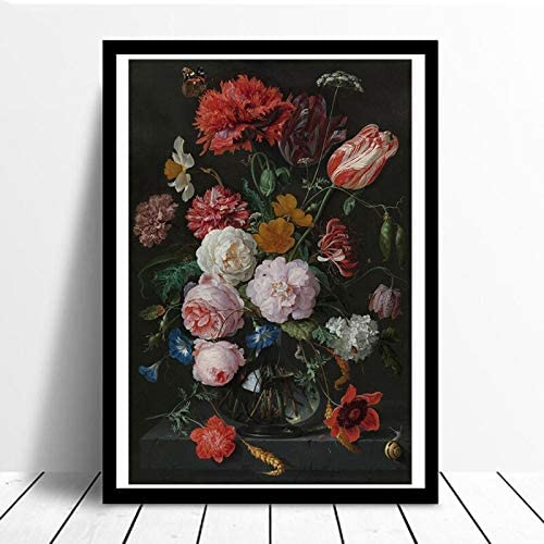 YuanMinglu Bodegón con Flores Lienzo en florero de Vidrio ...