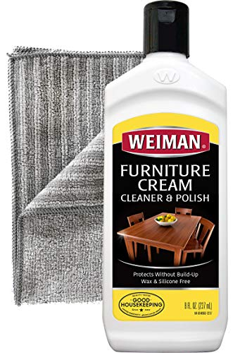 Weiman Furniture Polish and Cleaner (8 Ounce with Microfiber Cloth) Furniture Cream with Lemon Oil Restore Luster and Prevent Sun Damage Without Dulling - Wood Furniture Hickory
