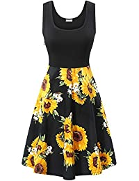 Women's Vintage Scoop Neck Midi Dress Sleeveless A-line...