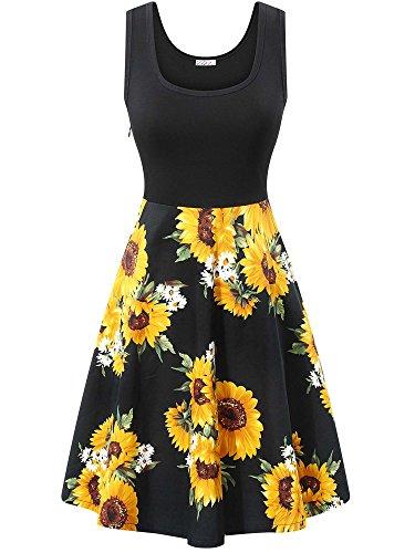 KIRA Midi Skater Dress, Women's Scoop Neck Sleeveless Floral Summer A-Line Dress