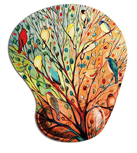 Memory Foam Mousepad with Wrist Support, Gorgeous Illustration Painting Birds Stand on The Tree Mouse Pad Wrist Rest, Super Non-Slip PU Base