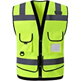 Safety Vest Men's High Visibility Waistcoat Multi-pocket Construction Site Safety Protection Vest Car Annual Inspection…