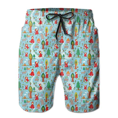Men Swim Trunks Beach Shorts,Red Riding Hood Tale Themed Illustration with House and Big Bad Wold in The Forest ()