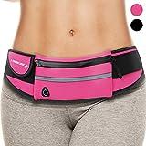 Waist Pack Best Running Belt Fanny Pouch Waistband Case Holds All Cell Phones Sports Fitness Holder Bag for Women Jog girl Runners With Water Resistant Reflective Zipper Pocket All Waist Sizes (Pink)