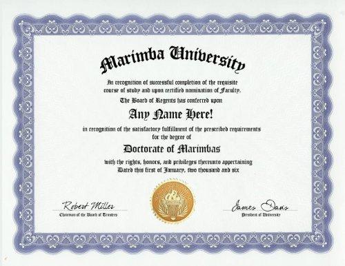 Marimba Degree: Custom Gag Diploma Doctorate Certificate (Funny Customized Joke Gift - Novelty - Custom Marimba