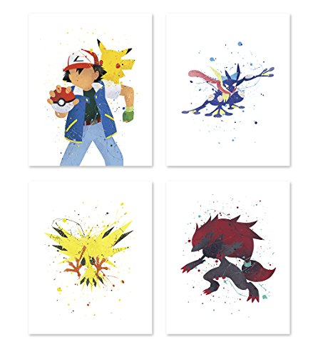 (Pgbureau Pokemon Poster Inspired Watercolor Wall Art Prints for Boys and Girls - Set of 4 Decor Painting Paper - Zoroark - Pikachu - Greninja 11x14)