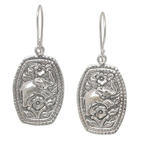 Pierced Elephant Earrings - NOVICA .925 Sterling Silver Floral Elephant Dangle Earrings 'Elephant Roses'