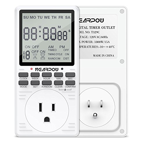 Timer Outlet, Nearpow Multifunctional 7-Day Cycle Programmable Plug-in Digital Timer Switch for Appliances, Extra large LCD Display, 19 Programmable Settings, Seconds-Interval, -