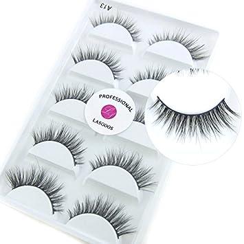 44304c7f6b9 Amazon.com: Luxurious Siberian Mink 3D False Eyelash LASGOOS Degisn Natural  Daily Look Fake Eyelashes Eye Makeup 5 Pairs/Box (A13): Beauty
