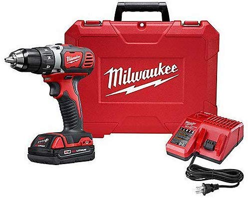 Milwaukee 2607-21CT Tool M18 Lithium-Ion Cordless 1/2-inch Hammer Drill Driver Kit with 1.5Ah Battery, Charger and Hard Case