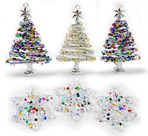 Glass Christmas Tree Ornament Set - Set of 6 Assorted Sparkly Trees and Snowflakes - Glittered Ornaments Boxed - Whimsical Xmas Ornaments