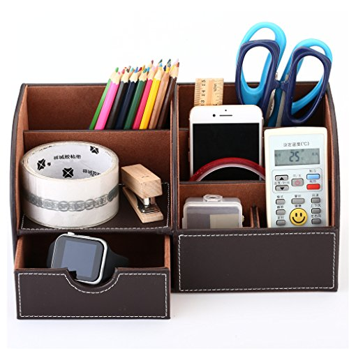 Pen Organizer Brown Desk Pen Pencil Holder Leather Nightstand Stationery Organizer Office Home Accessories Offer on Mobile Phones YOOSKE Leather Storage (Brown Leather Organizer)