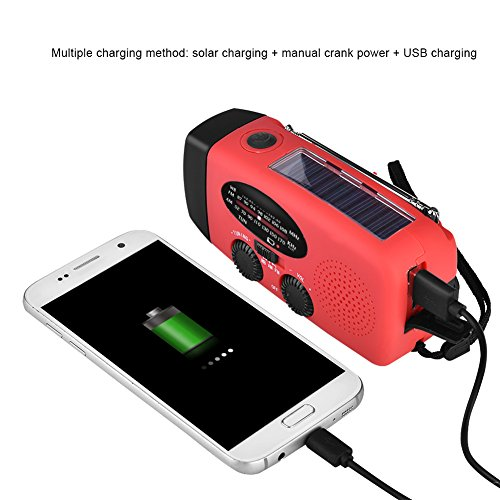 Fosa Emergency Solar Hand Self Powered Crank Dynamo AM/FM/WB Weather Radio LED Flashlight Portable Charger Power Bank for iPhone/Smart Phone (Red) by fosa