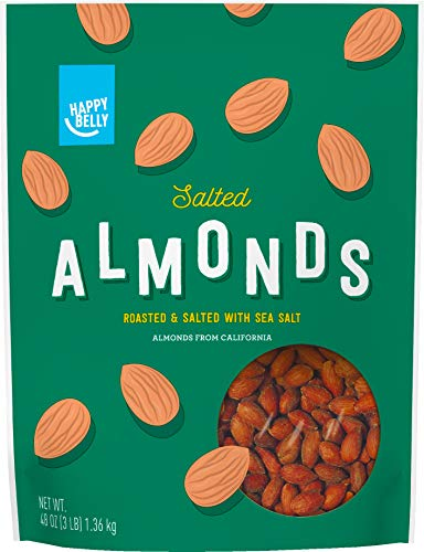 (Amazon Brand - Happy Belly Roasted & Salted California Almonds, 48 Ounce)