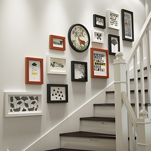 ZGP Home@Wall photo frame Photo Frame Wall Staircase Photo Wall Wall Frame Set Of 13 Pcs, Frames,Picture Photo Frame Set (Color : B) by ZGP