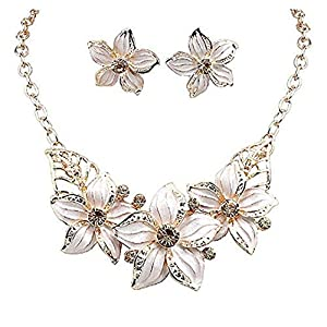 Zjzhao shop Fashion Women Crystal Flower Statement Gold Plated Necklace Earrings Jewelry Set (White)
