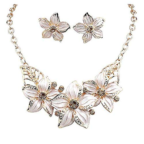Zjzhao shop Fashion Women Crystal Flower Statement Gold Plated Necklace Earrings Jewelry Set ()