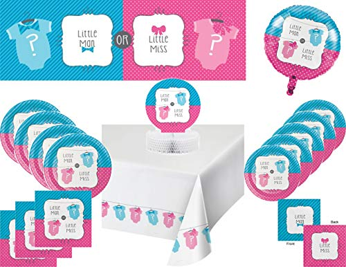 Baby Shower or Gender Reveal Party Supply Bundle for 16 Guests - Bow or Bowtie - Includes Paper Plates, Napkins, Tablecover, Centerpiece, Banner and Balloon -