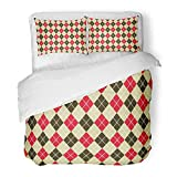 Emvency Bedding Duvet Cover Set Twin (1 Duvet Cover + 1 Pillowcase) Beige Ace Vintage Argyle Pattern in Red and Black Casino Colours Colorful Blackjack Hotel Quality Wrinkle and Stain Resistant