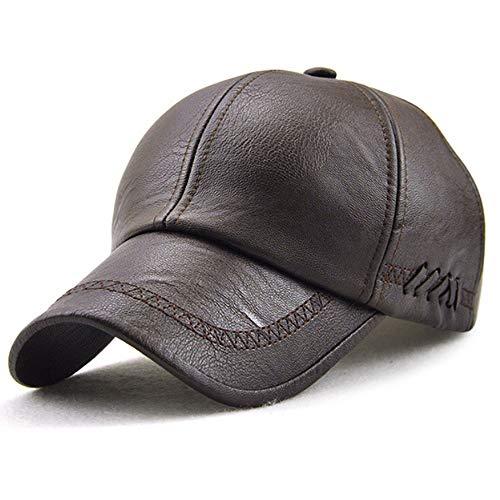 Unisex Leather Baseball Cap, Men Adjustable Structured PU Classic Baseball Cap Hat,Winter for Elderly Father ()