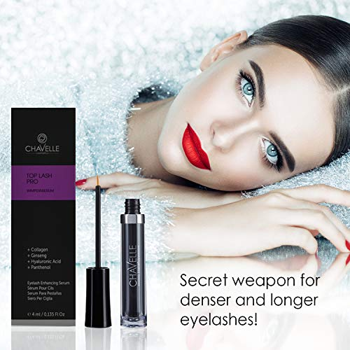 Eyelash Growth Serum Made in Germany – Natural Highly Effective Enhancer and Booster for Longer Eyelashes and Thicker Eyebrows I 0.135 Fl.Oz Top Lash Pro