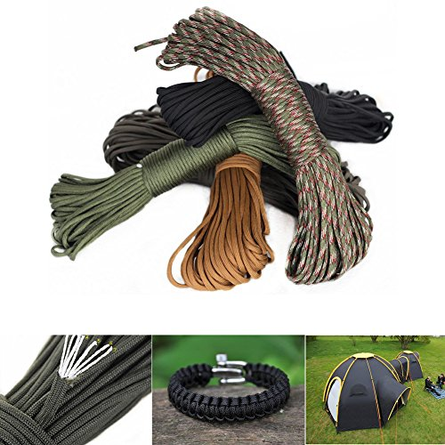 Sweetfun Survival Gear Nylon Cordage Parachute Rope 100 Feet with Tensil Strength 550 Lbs