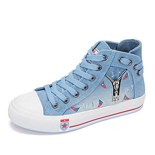 zapatos de lona del dril de algodón de verano y otoño/bota zapatos ocasionales planos cremallera salvaje/ zapatos de lona simples A