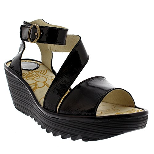 Open Patent Fly Wedge London Womens Luxor Heels Sandals Black Yesk Leather Toe nwFYUAZaq