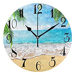 WellLee Palm Trees Hawaiian Tropical Seashore Beach Clock Acrylic Painted Silent Non-Ticking Round Wall Clock Home Art Bedroom Living Dorm Room Decor