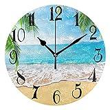 WellLee Palm Trees Hawaiian Tropical Seashore Beach Clock Acrylic Painted Silent Non-Ticking Round Wall Clock Home Art Bedroom Living Dorm Room Decor