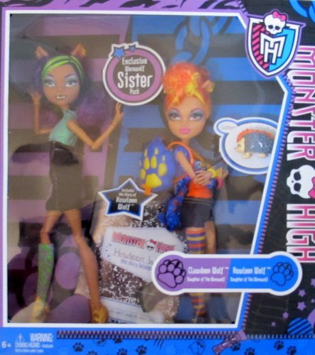 Monster High EXCLUSIVE WEREWOLF SISTER PACK w CLAWDEEN & HOWLEEN WOLF DOLLS, Diary & Pet CUSHION Daughters of the Werewolf (2011)]()