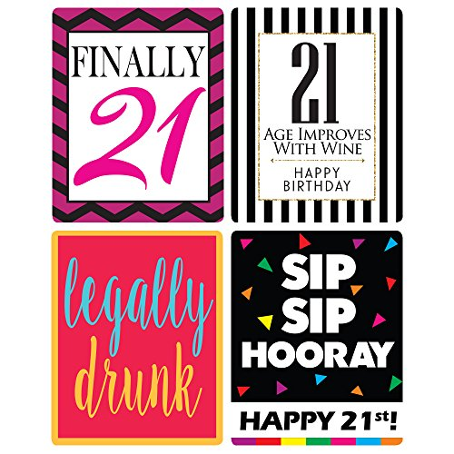 Chic 21st Birthday Wine Label Pack Party Supplies Ideas And Decorations Funny Gifts For Women