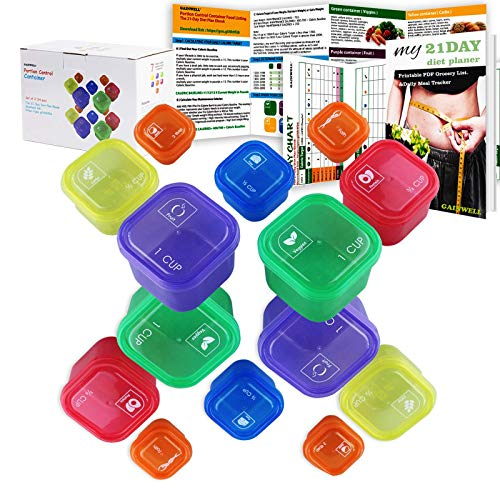 21 Day Portion Control Container kit – 14 Pieces by GAINWELL
