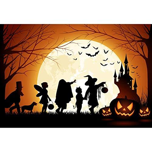 DORCEV Halloween Photography Backdrop Magic Forest Sunrise Tree Witch Zomboe Fairy Dack Castale Black Bat Halloween Theme Party Banner Wallpaper Halloween Photo Studio Props