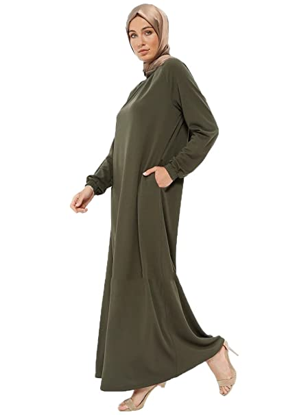fc830c4254ba9 Miss Cazibe Turkish Khaki - Crew Neck - Unlined - Islamic Modesty Dress (42)