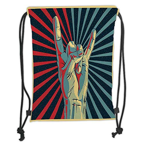 (Custom Printed Drawstring Sack Backpacks Bags,Music,Hand in Heavy Rocker Sign Musical Universal Gesturing Thunder Bolts Party People Decorative,Multicolor Soft Satin,5 Liter Capacity,Adjustable String)