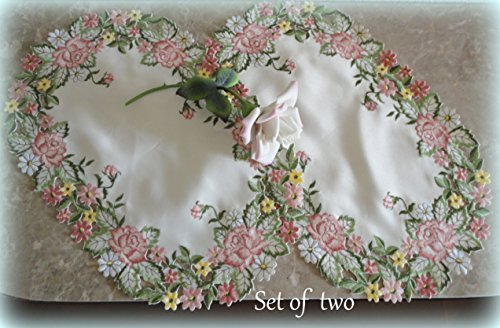 - Embroidered Pink Rose Place Mats ( Set of 2, 17x11 inch) Doilies Floral Daisy