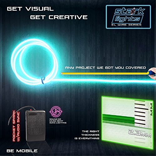 1-Pack 5m/16.4ft Teal Neon LED Light Glow EL Wire - 2.3 mm Thick - Powered by 6V Portable - 4AAA - Sound Active - Electroluminescent Wire String Light for DIY Project Costume Accessories Cosplay]()