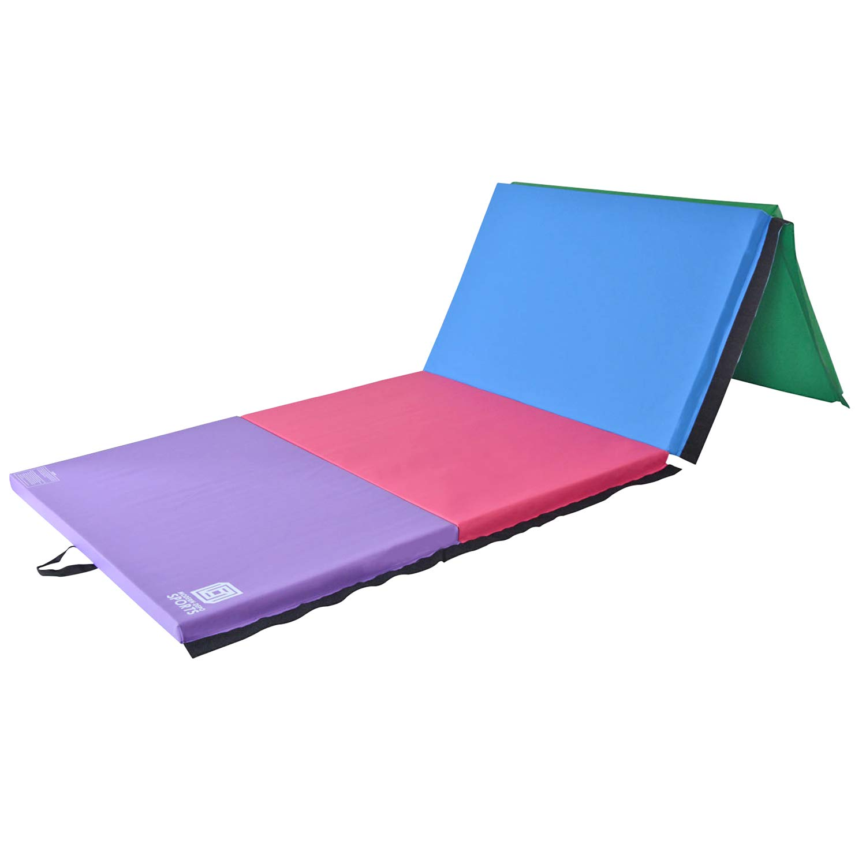 Modern-Depo Junior PRO Gymnastics Kip Bar w/ 10'x4'x2 Tumbling Folding Mat   Adjustable (3'- 5') Training Horizontal Bar Beech Wood - Purple by Modern-Depo (Image #3)