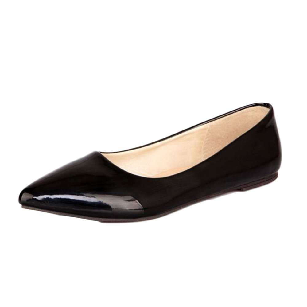 Smilice Women Flats Patent Leather Pointed Toe Slip-on Shoes 6 Colors Available Size 1-13 US B06XCPQH34 44 EU = US 11 = 27 CM|Black