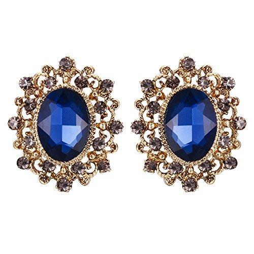 EVER FAITH Women's Austrian Crystal Vintage Style Hollow Oval Stud Earrings Royal Blue Gold-Tone