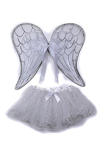 [Silver Toddler Girl Angel Wings Tutu Costume Dress Up Set 2-5T] (Angel Wings For Halloween Costumes)