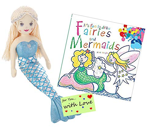 Ganz Drawing Set: It's Fun to Draw Fairies and Mermaids w Stuffed Mermaid Doll Cascade with Blonde Hair for Young Girls who Want to Learn How to Draw Fairies and How to Draw Mermerids with a Friend from Ganz