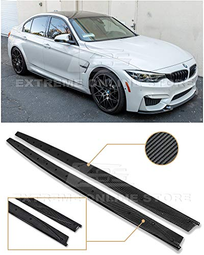 Repalcement for 2014-2018 BMW F80 M3 | EOS M-Performance Style Carbon Fiber Side Skirts Rocker Panels Extension