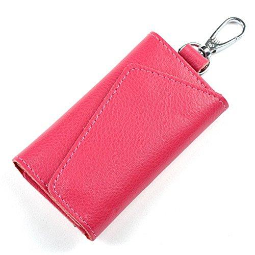 Aladin Leather Pocket Key Organizer Case with 6 Hooks & 1 Car Key Fob Holder (6 Key Holder Wallet)