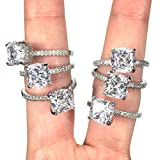 Glitz AAA Cubic Zirconia Engagement Ring for Women - Big Stone and Small cz Sparkle Like Real Diamonds! Eternity Anniversary Rings & Wedding Band Jewelry - Sterling Silver Plated - Friendship Promise