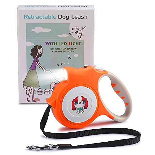 REXBETI Retractable Dog Leash, 16 Feet Extendable Leash with Lights For Small Dogs - Easy Grip, Lock & Release Mechanism, Build-in LED Flashlight